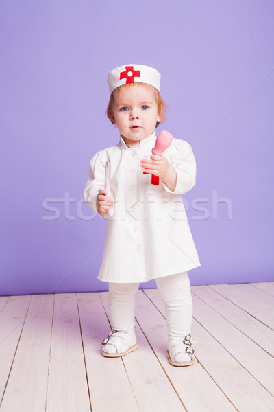 Little girl médico hospital 911 criança saúde Foto stock © dmitriisimakov