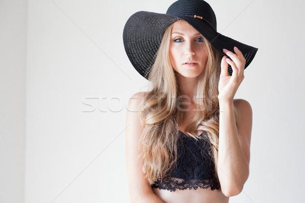 ファッショナブル 少女 帽子 広告 顔 女性 ストックフォト © dmitriisimakov