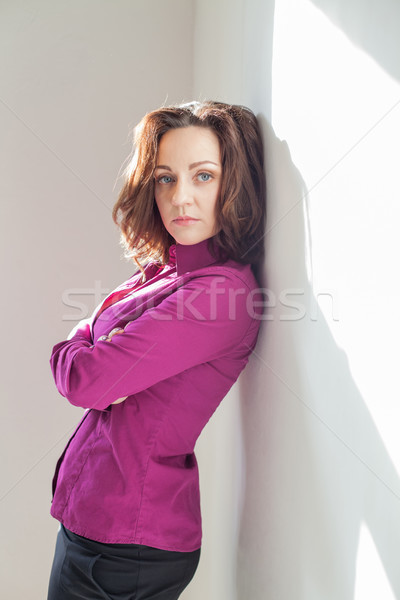 девушки Purple белый комнату телефон дома Сток-фото © dmitriisimakov