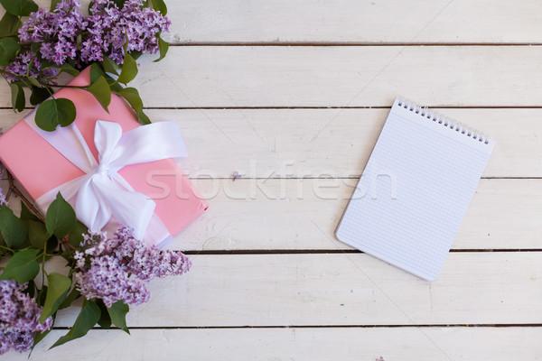 белый таблице Ложь сирень подарок ноутбук Сток-фото © dmitriisimakov