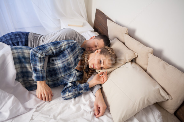 Marido esposa dormir dormitorio día casa Foto stock © dmitriisimakov