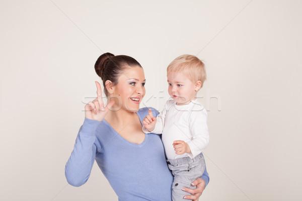 матери мало мальчика играть шоу пальца Сток-фото © dmitriisimakov