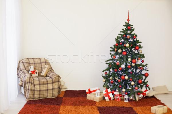 árbol de navidad nuevos año blanco habitación Navidad Foto stock © dmitriisimakov