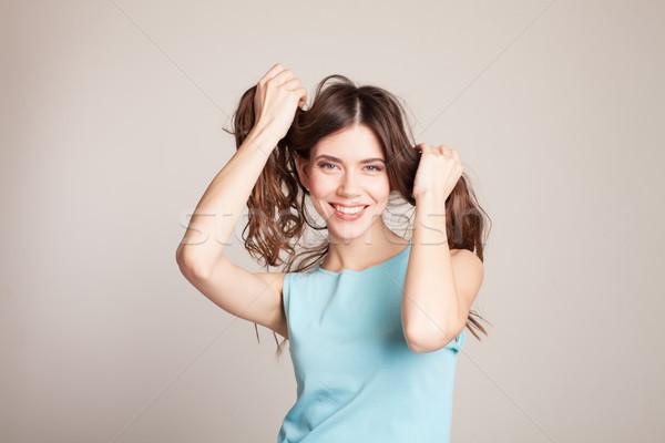 Foto d'archivio: Bella · ragazza · holding · hands · capelli · ragazza · primavera · baby