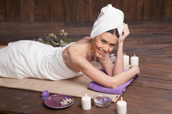 girl lies in the sauna before the massage and Spa Stock photo © dmitriisimakov
