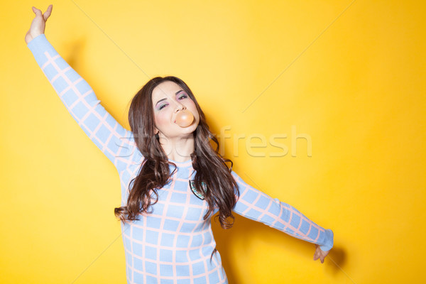girl with chewing gum in your mouth Stock photo © dmitriisimakov