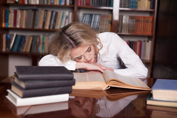 Kız sınav okuma kitap uyku yorgun Stok fotoğraf © dmitriisimakov