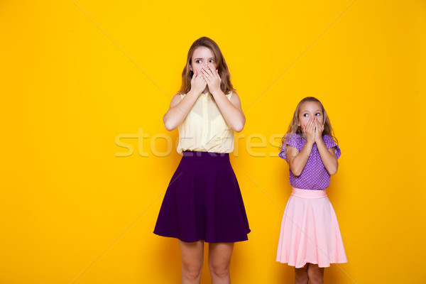 two girls shut mouth silence Stock photo © dmitriisimakov