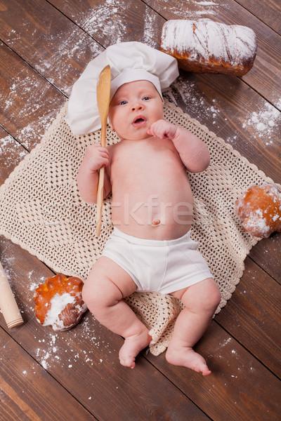 Baby kok tabel brood meel Stockfoto © dmitriisimakov