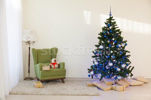 Stock fotó: Karácsonyfa · fényes · szoba · új · év · ajándékok · tűz