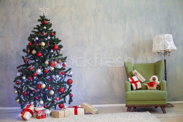 Noel ağacı hediyeler ev yılbaşı ev duvar Stok fotoğraf © dmitriisimakov