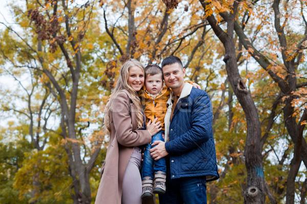 autumn forest walk with the son family Stock photo © dmitriisimakov