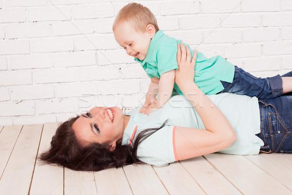Mama młody chłopak syn grać rodziny Zdjęcia stock © dmitriisimakov