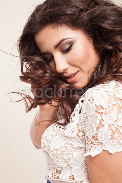 beautiful girl posing in the Studio emotion laughter Stock photo © dmitriisimakov