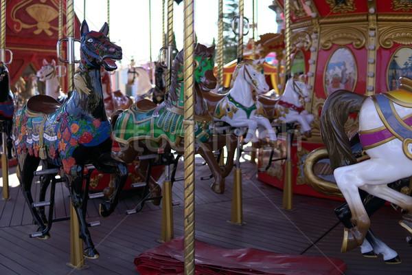 子供 カラフル 回転木馬 馬 楽しい 子供 ストックフォト © dmitriisimakov