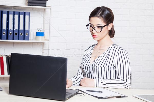 ビジネス 少女 コンピュータ オフィス 紙 フォルダ ストックフォト © dmitriisimakov