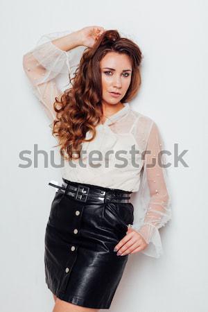 Novia vestido de novia chaqueta de cuero mujer nina moda Foto stock © dmitriisimakov