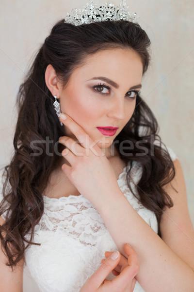 Korona menyasszony esküvői ruha esküvő nő szeretet Stock fotó © dmitriisimakov