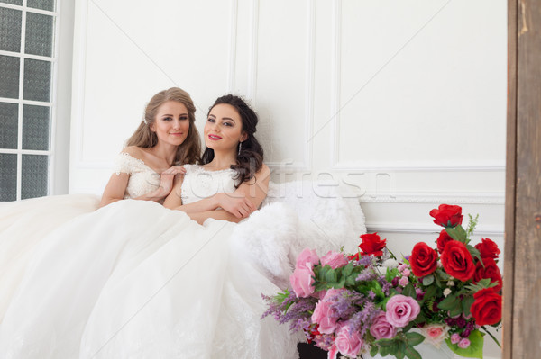two brides on wedding wedding blonde brunette girlfriend Stock photo © dmitriisimakov