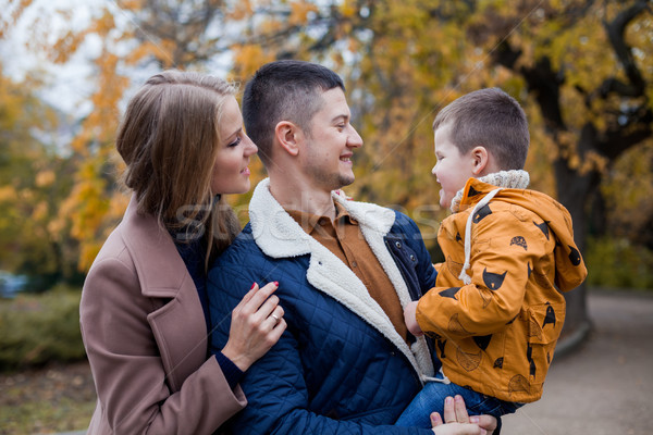 family mom dad son portrait with happiness in the forest Stock photo © dmitriisimakov