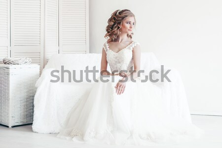 Beautiful girl lingerie sessão branco sofá casamento Foto stock © dmitriisimakov