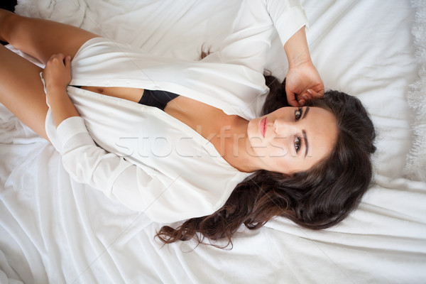 the girl woke up in bed rests in underwear Stock photo © dmitriisimakov