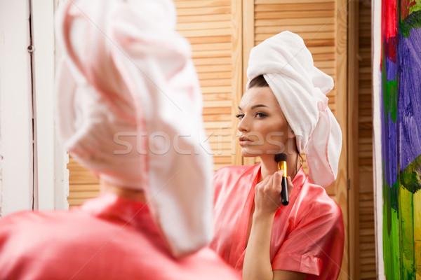 Menina chuveiro make-up banheiro mão feliz Foto stock © dmitriisimakov