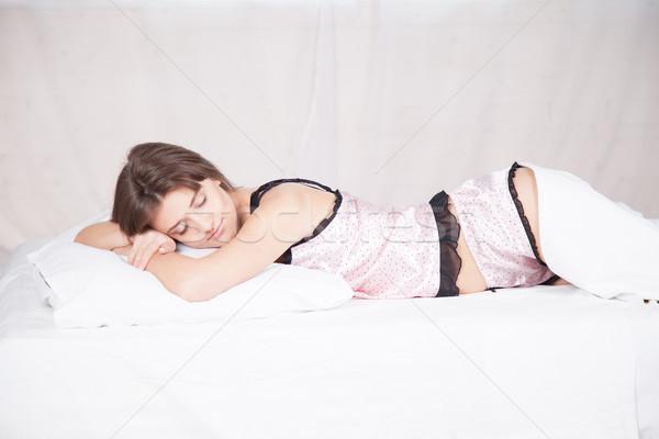 Menina pijama manhã cama branco Foto stock © dmitriisimakov