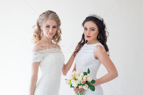 Kettő esküvő menyasszony virágcsokor virágok haj Stock fotó © dmitriisimakov