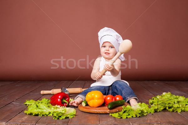 мальчика повар морковь помидоров Сток-фото © dmitriisimakov