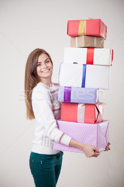 Kız çok hediyeler gülümsüyor gülümseme alışveriş Stok fotoğraf © dmitriisimakov