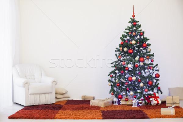 Noel ağacı hediyeler ev yılbaşı duvar arka plan Stok fotoğraf © dmitriisimakov