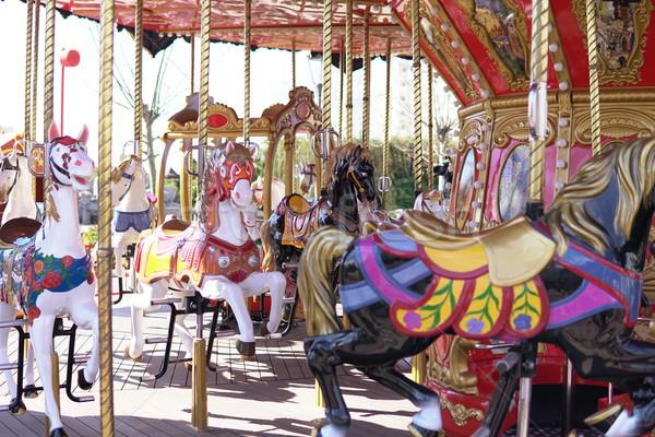Kid attractions colorful carousel horse fun x Stock photo © dmitriisimakov