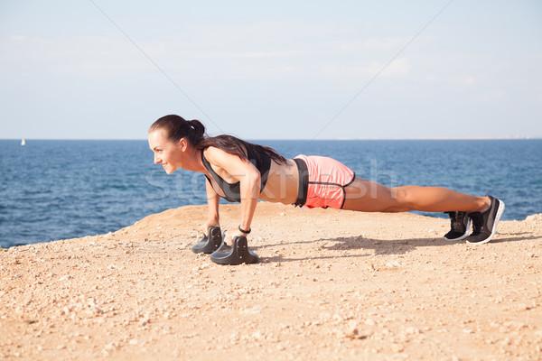 Foto stock: Fitness · esportes · menina · trens · músculos · praia