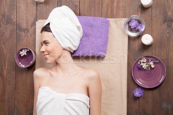 Mädchen Lügen Sauna Massage spa Frau Stock foto © dmitriisimakov