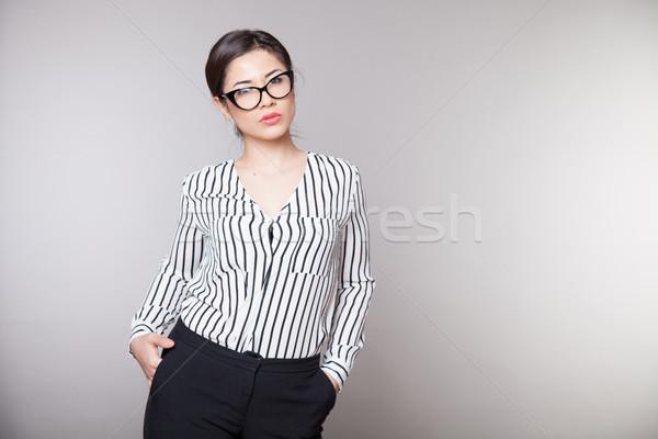 Iş kız gözlük ofis kadın yüz Stok fotoğraf © dmitriisimakov