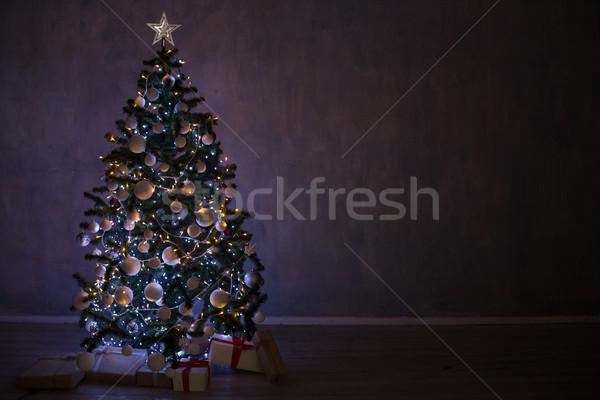 Christmas tree with garlands of lights at home for Christmas Stock photo © dmitriisimakov