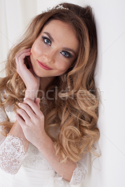 beautiful bride hairstyle curls gentle Stock photo © dmitriisimakov