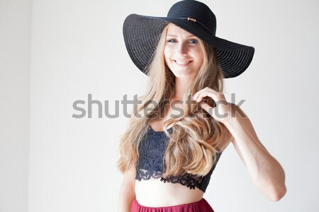beautiful girl in a hat with a brim fashion Stock photo © dmitriisimakov