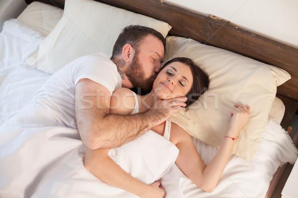男 女性 ベッド 午前 週末 美 ストックフォト © dmitriisimakov