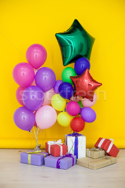 balloons of different colors with gifts for the holiday Stock photo © dmitriisimakov