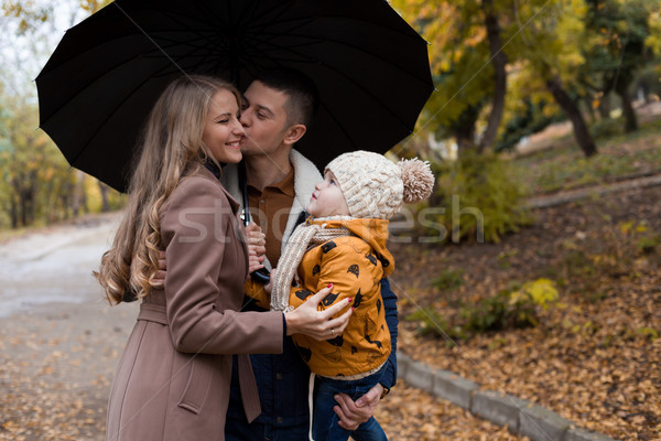 family in autumn in forest rain umbrella Stock photo © dmitriisimakov