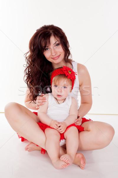 Anne küçük kız kırmızı bebek yüz Stok fotoğraf © dmitriisimakov