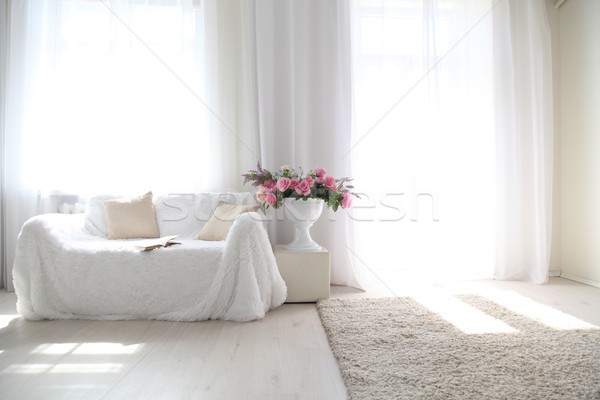 White lounge sofa large Windows and color book Stock photo © dmitriisimakov