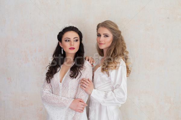 Dois meninas branco lingerie morena Foto stock © dmitriisimakov
