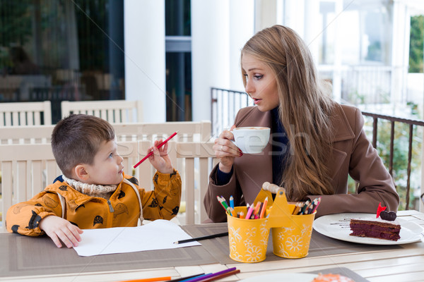 mother and son draw drawing hands colored pencils Stock photo © dmitriisimakov