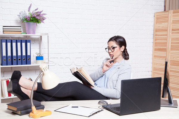 business woman in an Office works at the computer Stock photo © dmitriisimakov