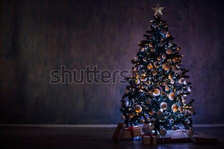 рождественская елка фары подарки домой Рождества дерево Сток-фото © dmitriisimakov