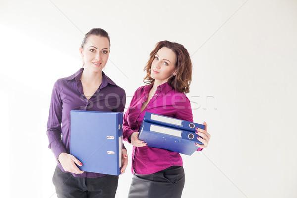 Business meisje mappen documenten papier zon Stockfoto © dmitriisimakov