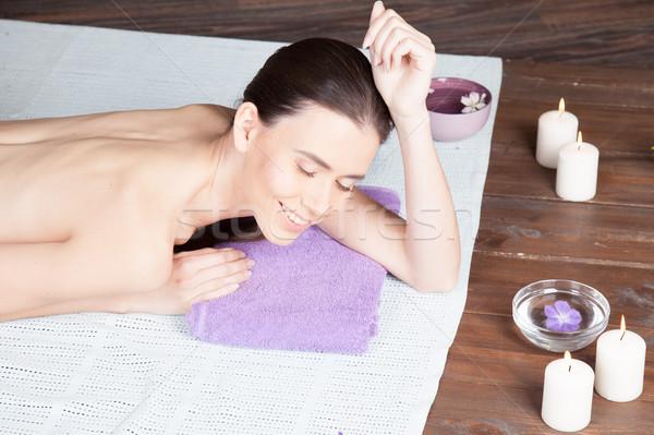 Menina mentiras sauna massagem estância termal mulher Foto stock © dmitriisimakov